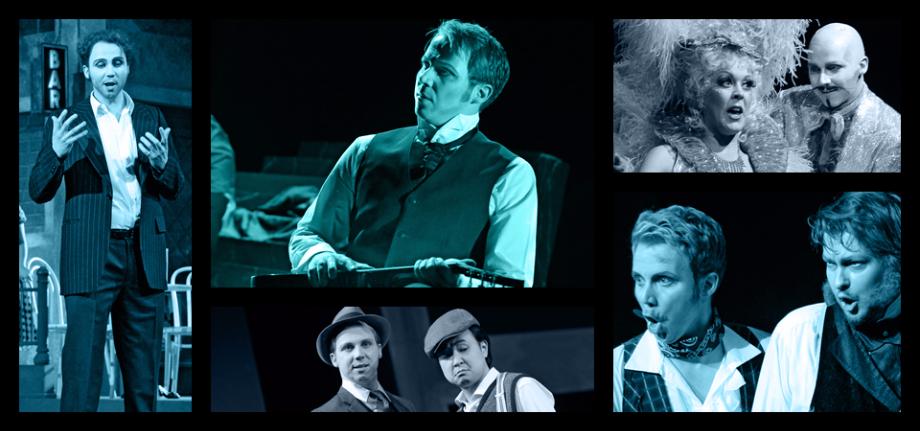 Collage von Mathias Frey bei seinen Aufführungen.