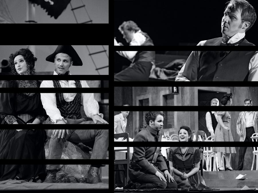 Collage von Aufführungen, in denen Mathias Frey mitgewirkt hat.
